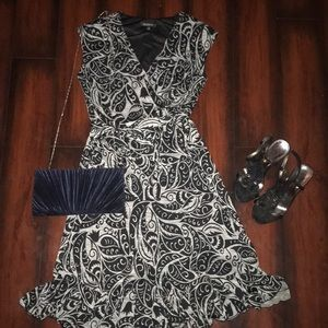 Beautiful Flattering Dress AND Black Clutch